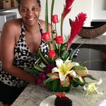 birthday flowers and cake…..planned by my husband and the concierge