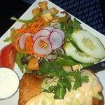 Seafood Chimichanga and side salad
