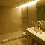 Big bathroom; excellent shower.