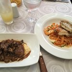 dinner at Omaggio….chicken dish and one with beef (very delicious and tender)