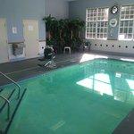 Pool facing back. Bathroom and Laundry room doors behind pool