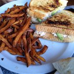 Tuna melt with sweet potato fries