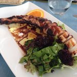 Grilled octopus with side salad
