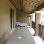 balcony with massage table