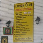 Cheap Lunch Club Menu