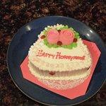 Honeymoon cake at our villa