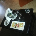 Our welcome snacks and sparkling wine