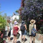 Admiring the village flora