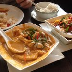 Chicken Panang curry, Jungle curry and coconut rice.