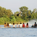 World's top wakeboarder, Lior Sofer, is showing his skill to all the spectators