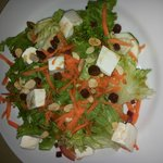 3-4star salad (white cheese bites are azorean local soft cheese) nice taste some roasted seeds e
