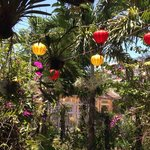 Beautiful garden adorned with traditional lanterns.