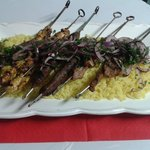 Mixed Grilled skewers served with rice...