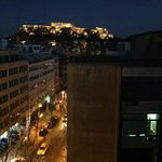 Night time view from the rooftop bar