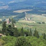 Vue de la chambre sur la campagne toscane