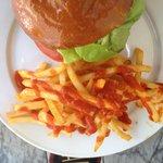 Veggie burger with sriracha fries