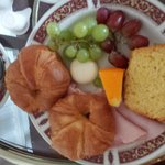 Room service Continental with warm ham and stale croissants. oh and a babybel.