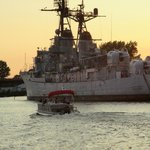 Destroyer anchored on the Saginaw River in Bay City