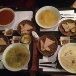 Clockwise from top left: goulash, chicken, criolla, vegetarian soups