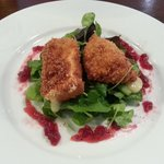 Deep Fried Brie Wedges with Cranberry Sauce & Rocket