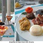 fruit; poached eggs, French toast, caramelised onions, mushroom, tomato, bacon & pork chippolata