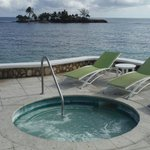One of the two outdoor hot tubs.