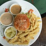 Mutton Burger along with mouth watering dips