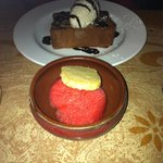 Dessert! Chocolate semifreddo and strawberry basil sorbetti