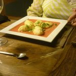Stuffed Gnocchi with ricotta, served on a sauce of fresh tomatoes