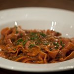 A closer view of our signature dish , Ragu with pappardelle in Chianti Classico