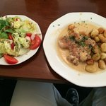 turkey breast with pepper sauce and gnocci with a little salad