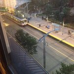 C-Train outside the hotel. Took it to the stampede and were able to keep our car parked in their