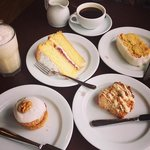"""Not so """"chocolate"""" thickshake and selection of cakes. Vic sponge was the nicest by far."""