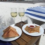snack of the day,sandwiches and wine