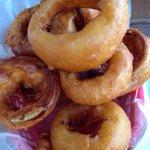 Enormous onion rings!! Woa!!
