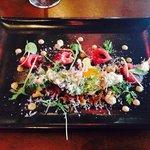Tuna Sashimi – cos lettuce, miso cured quail egg, toasted garlic and ginger dressing