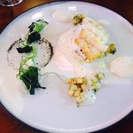 Pan fried line fish, herbed nicola potato and mussel salad with a scallop and english cucumber m