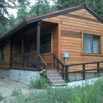 The cabin has a nice front porch to sit & relax