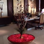 A flower arrangement in the lobby
