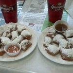 MINI beignets with different dipping sauces...Yum.