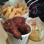 Fried chicken, coleslaw and fries