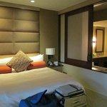 Bedroom with sliding bath divider