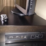 Media panel allows you to connect your laptop DVD player to the TV. Bring your own cables.
