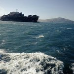 Coming up to Alcatraz Island on the boat..
