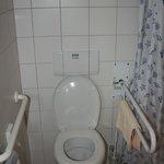 WC (trop bas) mais avec 2 barres d'appui