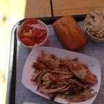 Pulled Pork, Tomato Salad, Potato Salad
