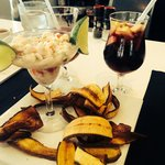 Best Seafood Ceviche, fried plantains & Sangria