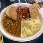 Pork plate, with beans & pot salad. $8.50. Can't be beat!!