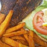 Blackened grouper sandwich and sweet potato fries