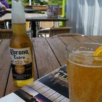 Corona and a draft Shocktop, waterside